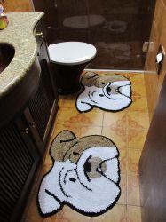 Kit Tapete Banheiro Bulldog Inglês