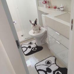 Kit Banheiro Tapete Bulldog Francês