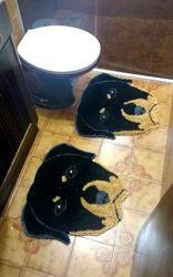 Kit Tapete Banheiro Rottweiler